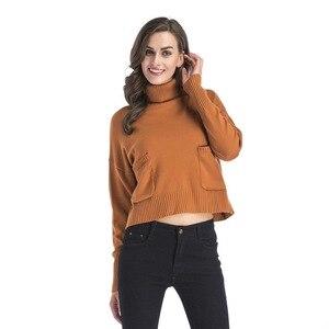 Image 3 - Jerseys de mujer sólidos de cuello alto de INSINBOBO suéteres sueltos de punto Otoño Invierno ropa Casual jerseys