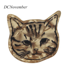 Cat Head Hair Clips Brooch for Women Ladies Pins Handmade  Barrette Accessories