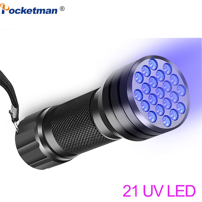 LED UV Flashlights Bright Torch Ultraviolet Black Light Lamp Flashlight 12 LED 21LED UV Light Pratical Inspection Light