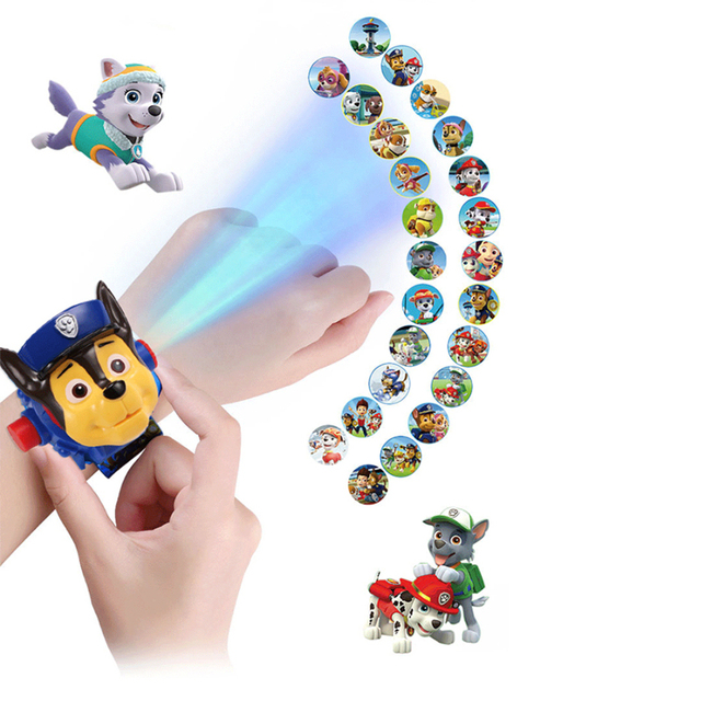 Paw patrol toys set 3D Projection watch Birthday Gift