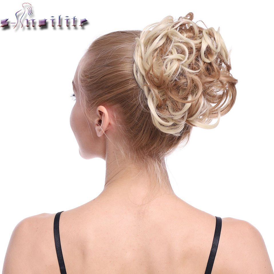 S-noilite Elastic Rubber Band Net Curly Chignon With Two Plastic Combs Updo Cover Hair Bun Afro Chignon Hair Synthetic Hairpiece
