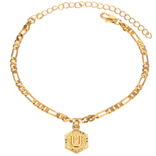 Customized Initial Charm Gold Color 4mm Figaro Chain Anklet for Women Fashion Custom Ankle Bracelet with Letter Alphabet