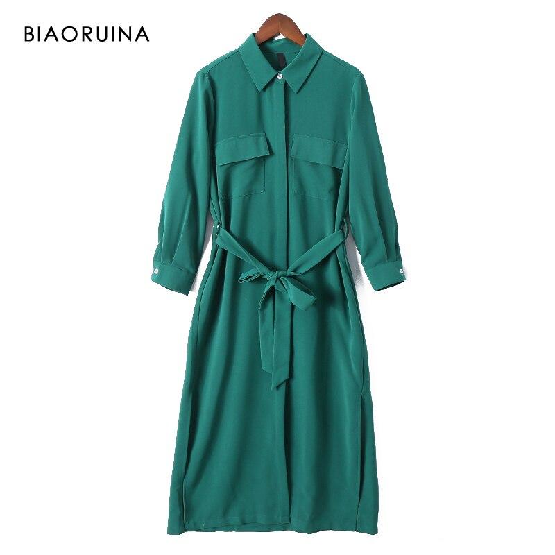 BIAORUINA Women Solid Elegant Long Shirt Dress Mid-calf Length Female Casual Side Split Dress Women's Vintage A-line Dress