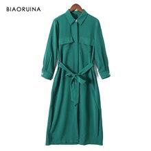 BIAORUINA kadınlar katı zarif uzun gömlek elbise orta buzağı uzunluğu kadın rahat yan bölünmüş elbise kadın Vintage evaze elbise