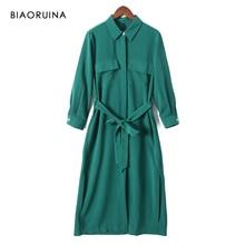 Biaoruina feminino sólido elegante vestido de camisa longa meados de bezerro comprimento feminino casual lado split vestido feminino vintage a line