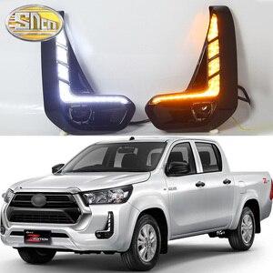 Image 1 - SNCN 2 sztuk światła do jazdy dziennej LED dla Toyota Hilux Revo 2020 2021 dynamiczny włącz żółty sygnał przekaźnik samochodowy 12V LED DRL Daylight