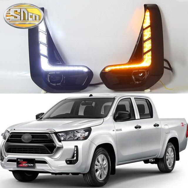 SNCN 2 sztuk światła do jazdy dziennej LED dla Toyota Hilux Revo 2020 2021 dynamiczny włącz żółty sygnał przekaźnik samochodowy 12V LED DRL Daylight
