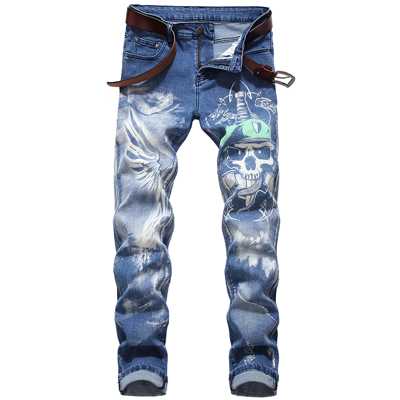 Free Shipping 2020 New Men's Male 3D Pirate Skull Printed Jeans Plus Big Size Slim Straight Wings Blue Stretch Pants Personality