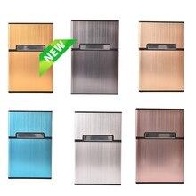 Тонкий металлический чехол для сигарет, тонкая модная сигаретная коробка, Оригинальный чехол для сигарет, алюминиевая Подарочная коробка, 6...