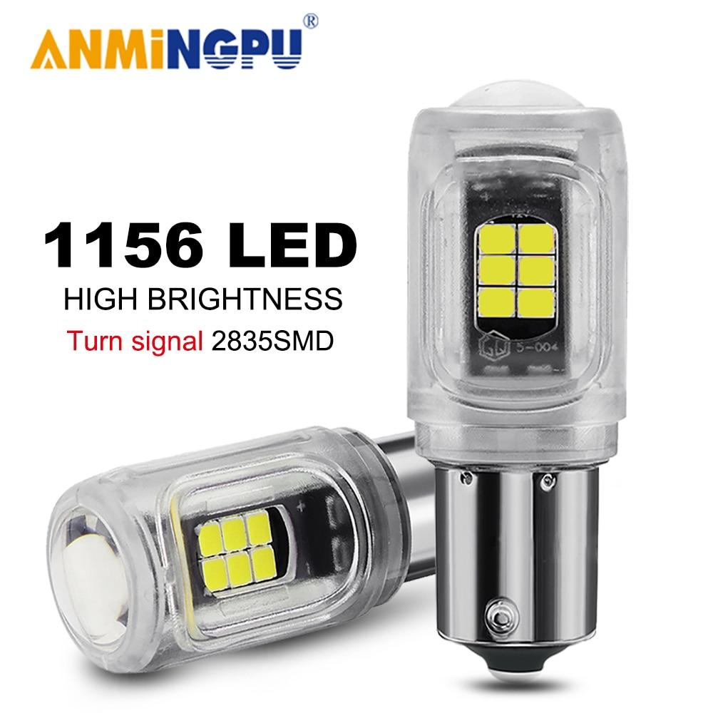 ANMINGPU 2X Signal Lamp 1156 Led Bulb PY21W BAU15S BA15S P21W Led 3030SMD Led 1157 BAY15D P21/5W Turn Signal Light Brake Light