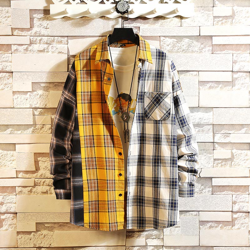 Japan Style Red Patchwork Shirt Spring Personality Korean Version Of The Trend Of Color Matching Plaid Shirt Men's Casual Hip Ho