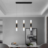 Front bar decoration small chandelier modern minimalist acrylic chandelier cylindrical long tube color matching line lamp