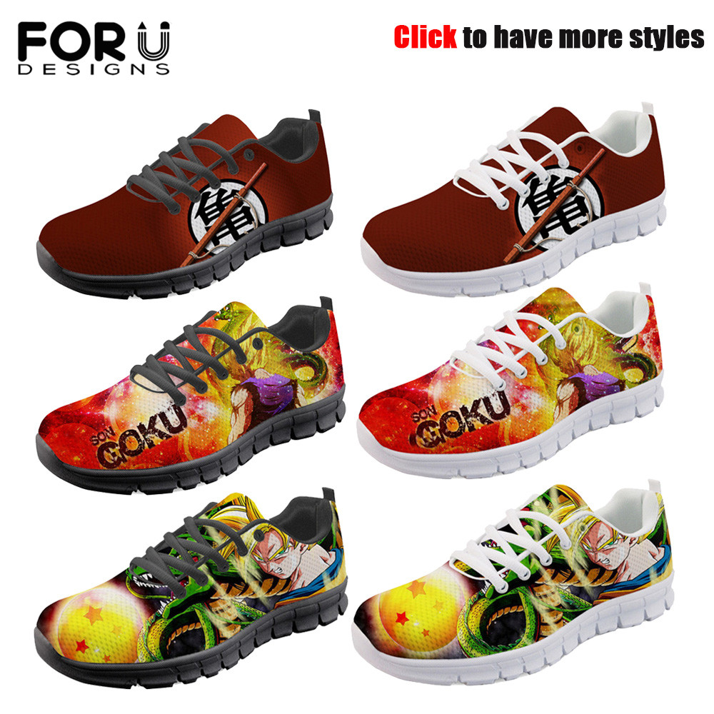 FORUDESIGNS Spring Autumn Casual Men Shoes Cool Anime Dragon Ball Print Male Sneakers Breathable Mesh Light