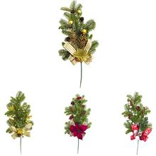 Christmas Artificial Red Berry Branch Pine Cones Holly Home Party Decor Supply Berries