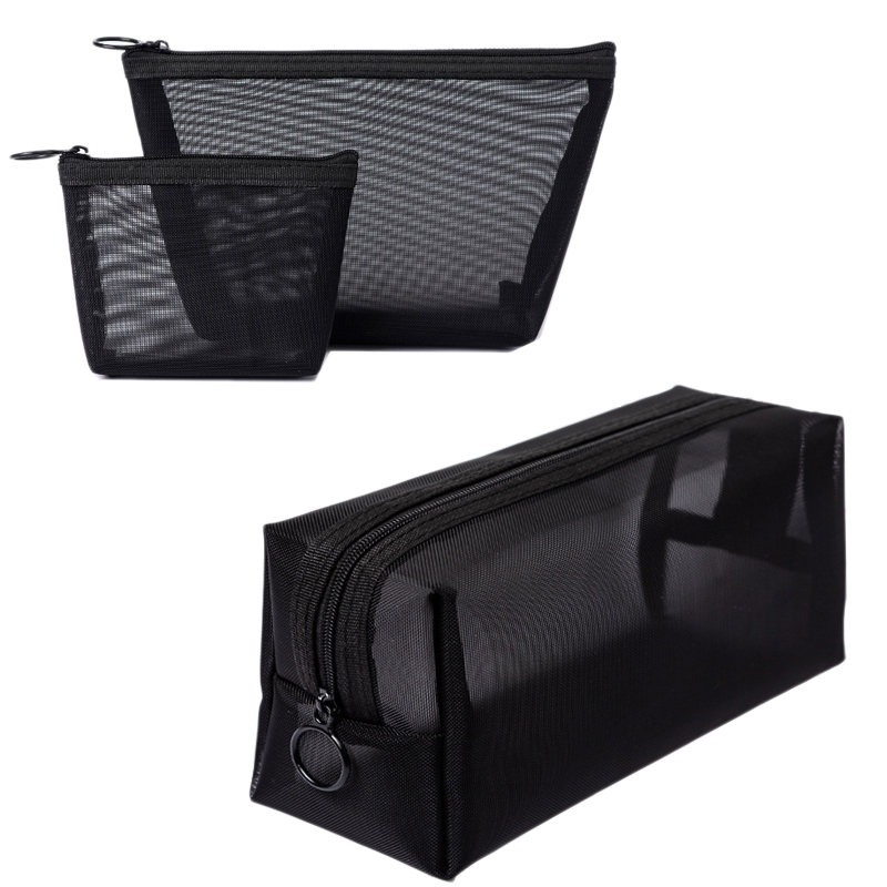 3Pcs/Set Black Mesh Clear Cosmetic Bag Beauty Wash Bags Makeup Case Travel