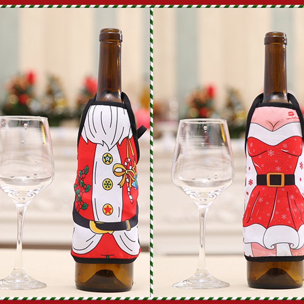 Mini Xmas Apron Wine Bottle Cover Set New Year Dinner Party Table Decoration Santa Aprons Christmas Decoration For Home