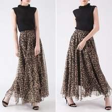 ZANZEA Leopard Print Skirts Women Maxi Vestido Summer Elastic Waist Faldas Saia Female Beach Casual Chiffon Robe Femme Plus Size