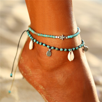 IF ME Bohemian Star Beads Stone Anklets for Women Vintage woven Rope Pendant Bracelet on Leg Anklet Beach Ankle Jewelry New Gift 2
