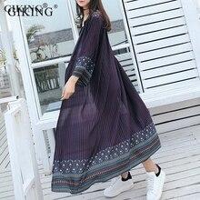 GIKING Chiffon Kimono Cardigan Women 2019 Long Sleeve Blouse Boho Vintage Tribal Retro feminino White Blue