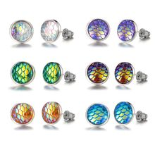 9 Pairs Beauty Fish Scale Round Crystal Assorted Stud Earrings Set Women Jewelry