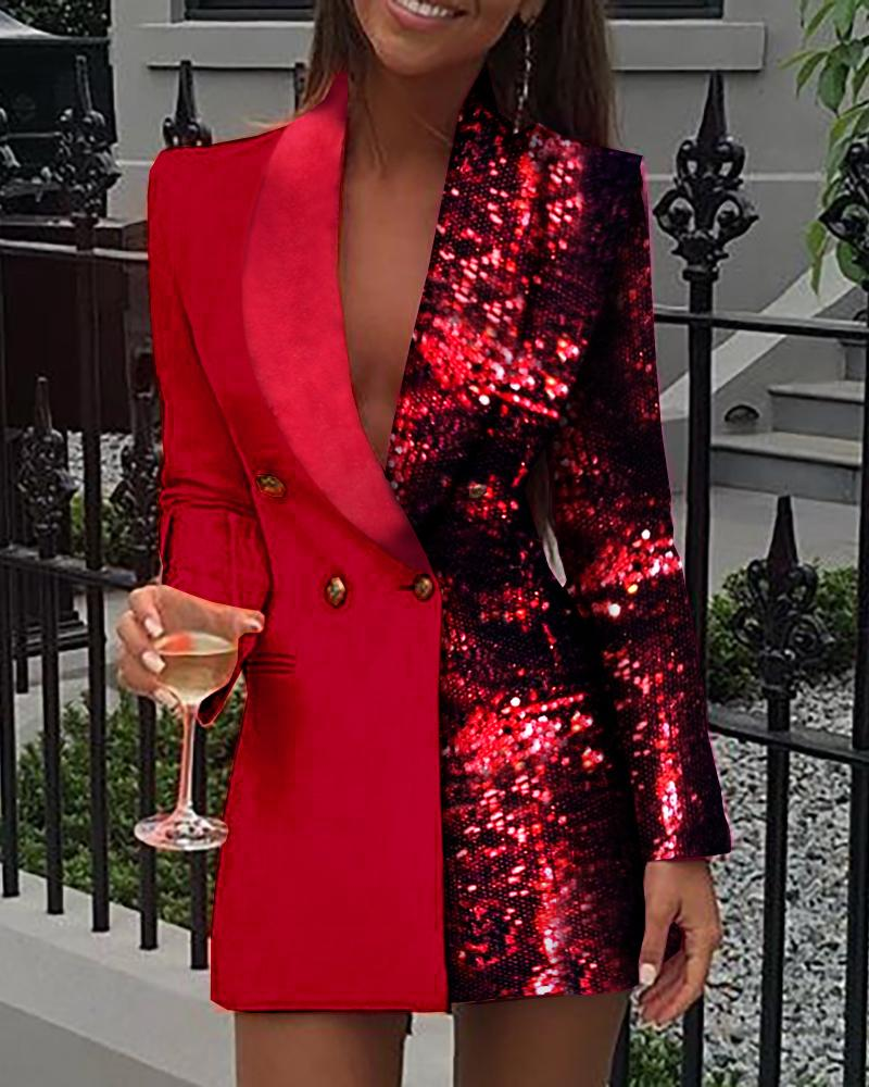 Colorblock Sequins Long Sleeve Blazer Dress Women Sexy Deep V Neck Mini Party Night Club Dress