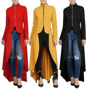 Image 1 - Muslim Blouse Women Fancy Zipper Abaya Dress with irregular swallow tails muslim shirt Hijab dress