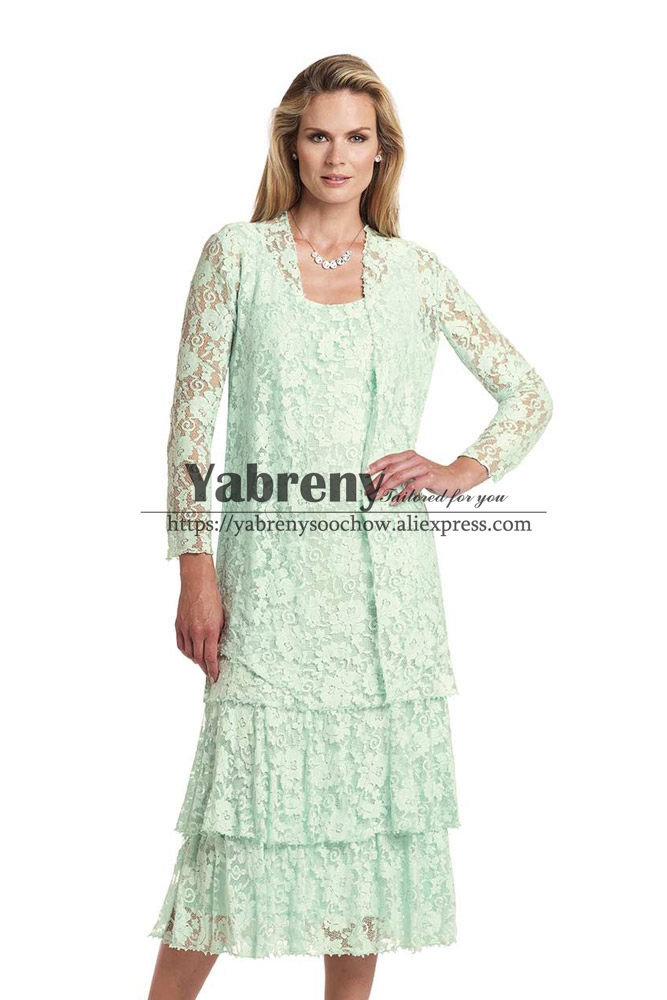 Tea Length Lace Mother Of The Bride Dress With Jacket Light Green