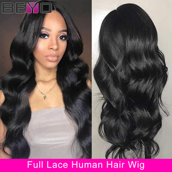 Brazilian Body Wave Wig Pre Plucked Full Lace Human Hair Wigs For Women 150% 180% Density Lace Wigs Beyo Remy Wig Natural Color