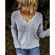 Flaky clouds V-Neck 2020 Women New Autumn winter sweater Hot Sale Simple Casual