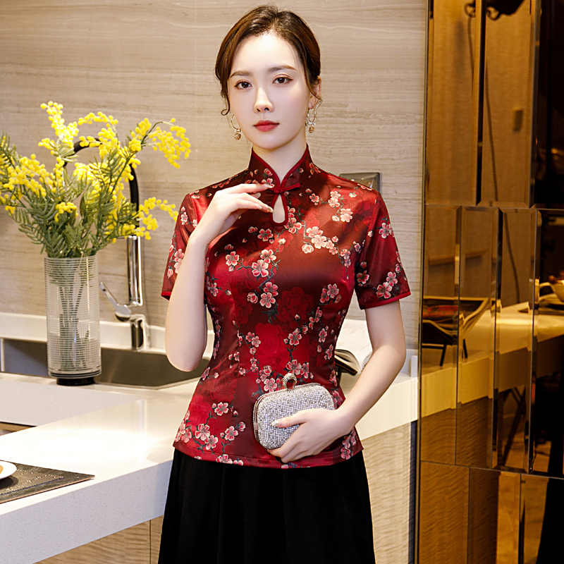 Été femmes chemise hauts Style chinois traditionnel rayonne Blouse dame col Mandarin Qipao Mujer Camisa taille S M L XL XXL