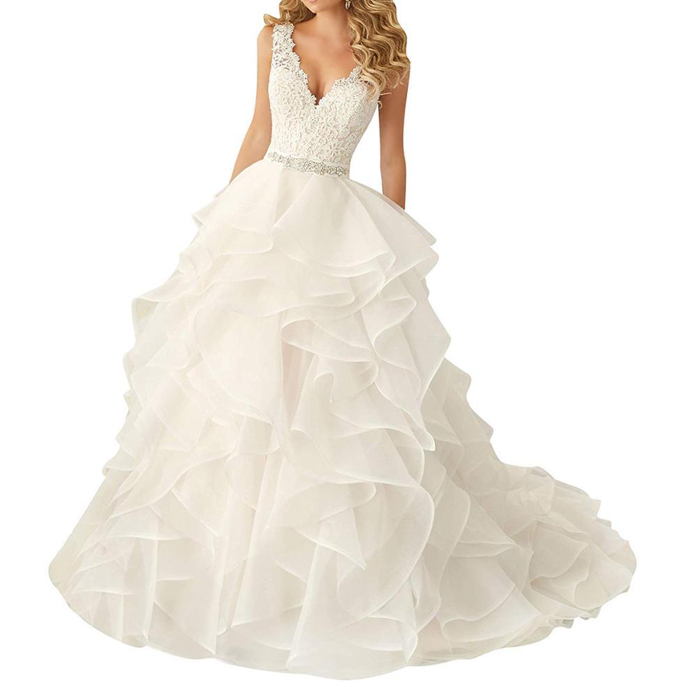 OEM Sexy Lace Deep V Neck Ruffle Wedding Dress Patterns A Line White Designer Sleeveless Bridal Wedding Gowns