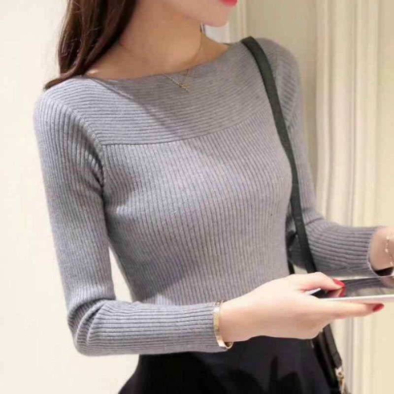 Winter Knitted Women Solid Sweaters And Long Sleeve Slash Neck Sweet Pullovers Sueter Mujer Tops Vintage Casual Korean Jumper