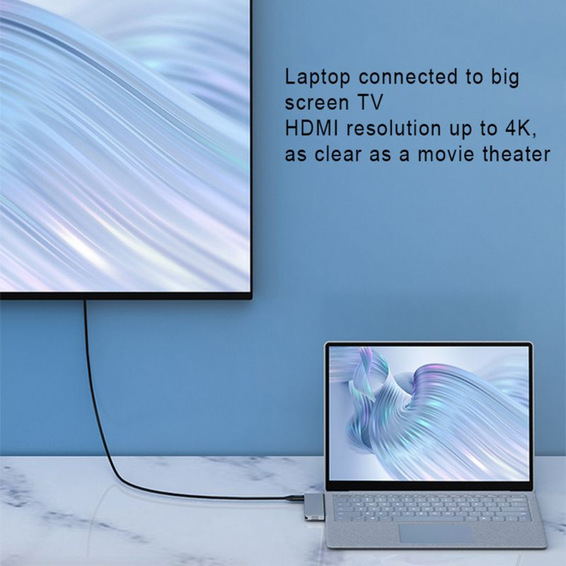 For Microsoft Surface Laptop2 Docking Station Notebook HDMI4K HD Projection Screen USB3.0 / TF / Audio Ports - 5