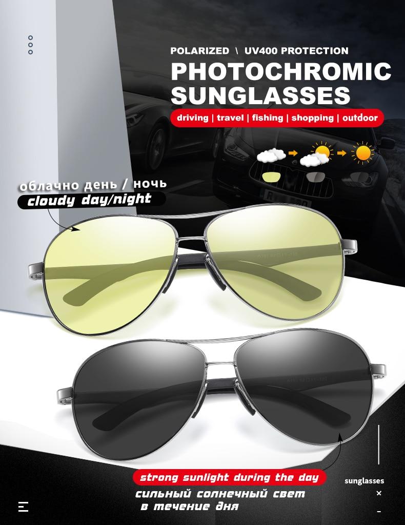 H49e7fa34953d4bd5aa3b6441fe429919q 2020 Aviation Driving Photo chromic Sunglasses Men Polarized Eyewear Glasses Women Day Night Vision