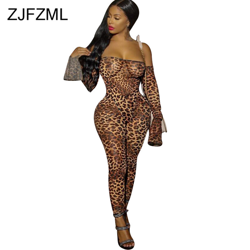 Off Shoulder Leopard Sexy   Jumpsuit   Women Backless Slash Neck Bodycon Plus Size Rompers Autumn Long Sleeve Full Length Overalls