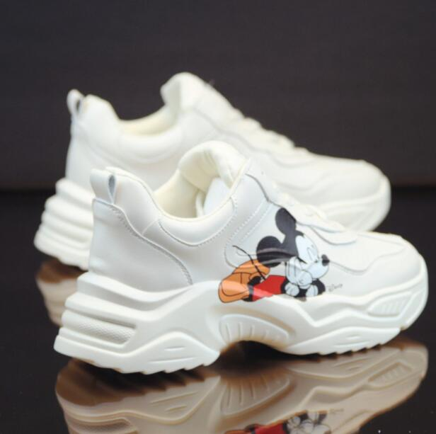 2020 Spring Casual Shoes Small White Shoes PU Female Cartoon Breathable Platform Increased Sneakers 35-40 Zapatos Mujer