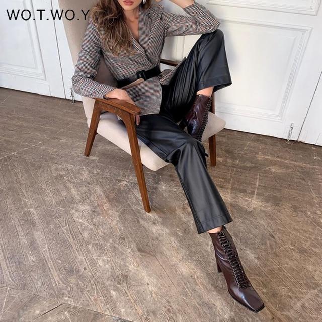 Elastic High Waist Leather Pants  2