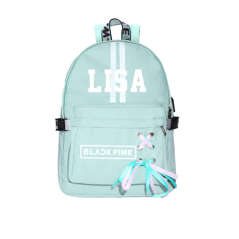 Kpop Blackpink Canvas Backpack Schoolbags for Teenage Girls Kpop JENNIE JISOO Fashion Travel Backpack USB Charging Harajuku Bag