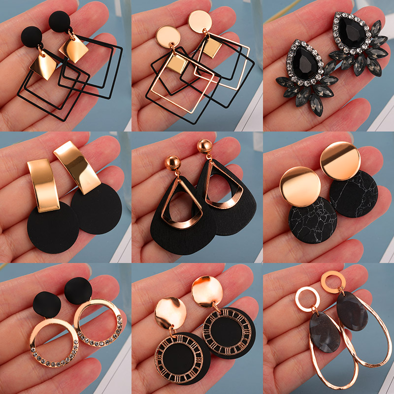 Statement-Earrings Jewelry Arcylic Tassel-Drop Geometric Brincos Gold Korean Black Vintage