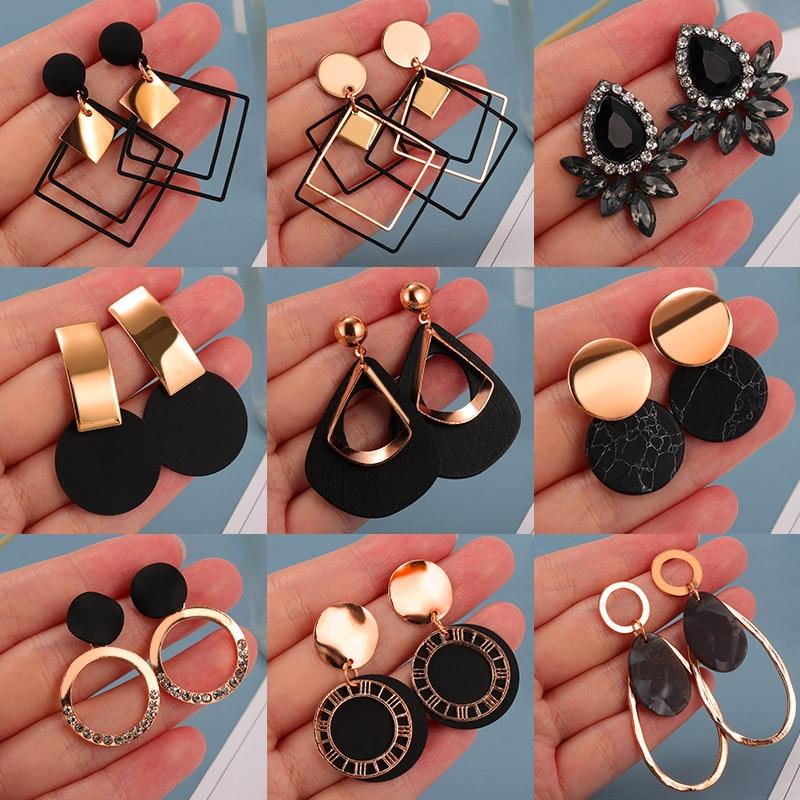 Korean Statement Earrings For Women 2020 Fashion Vintage Black Arcylic Gold Geometric Tassel Drop Earings Female Brincos Jewelry