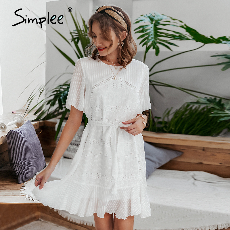 Simplee Casual white women summer ruffle dress Elegant cotton embroidery female short sundress Holiday A line ladies mini dress