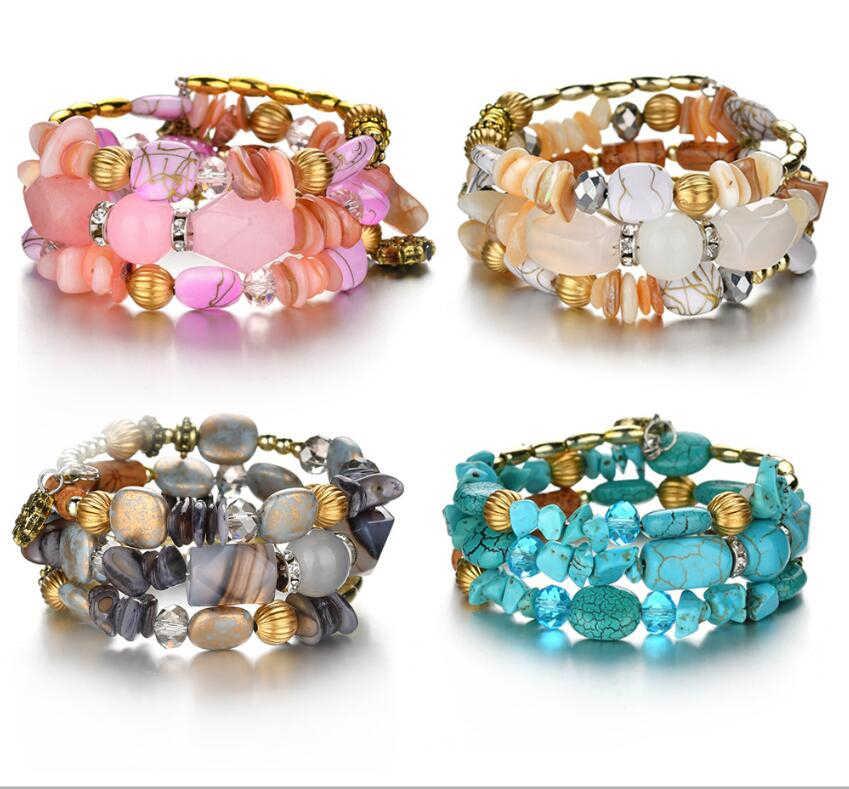 Nouveau Boho coloré Turquoises perles Bracelet pour femmes hommes métal cuivre résine pierre naturelle perle breloque ethnique réglable Bracelet