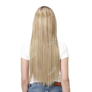 Image 5 - SARLA Halo שיער הארכת אין קליפ בלתי נראה חוט סינטטי Ombre טבעי מזויף ארוך ישר שווא פיסת שיער פאה לנשים