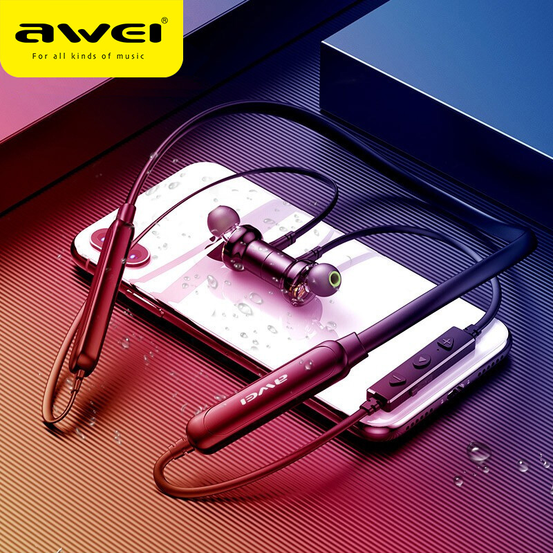 AWEI G20BLS Dual Driver Deep Bass HiFi Sport Wireless In-ear Earphones HiFi Gaming Quality Sound Neckband For iPhone 11 SE XR image