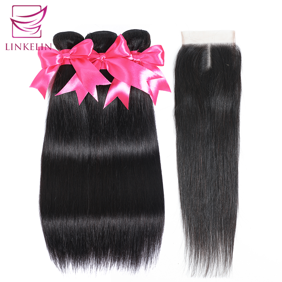 LINKELIN HAIR Mongolian Straight Hair Bundles With Closure Remy Human Hair Bundles With Closure 3 Bundles With Closure