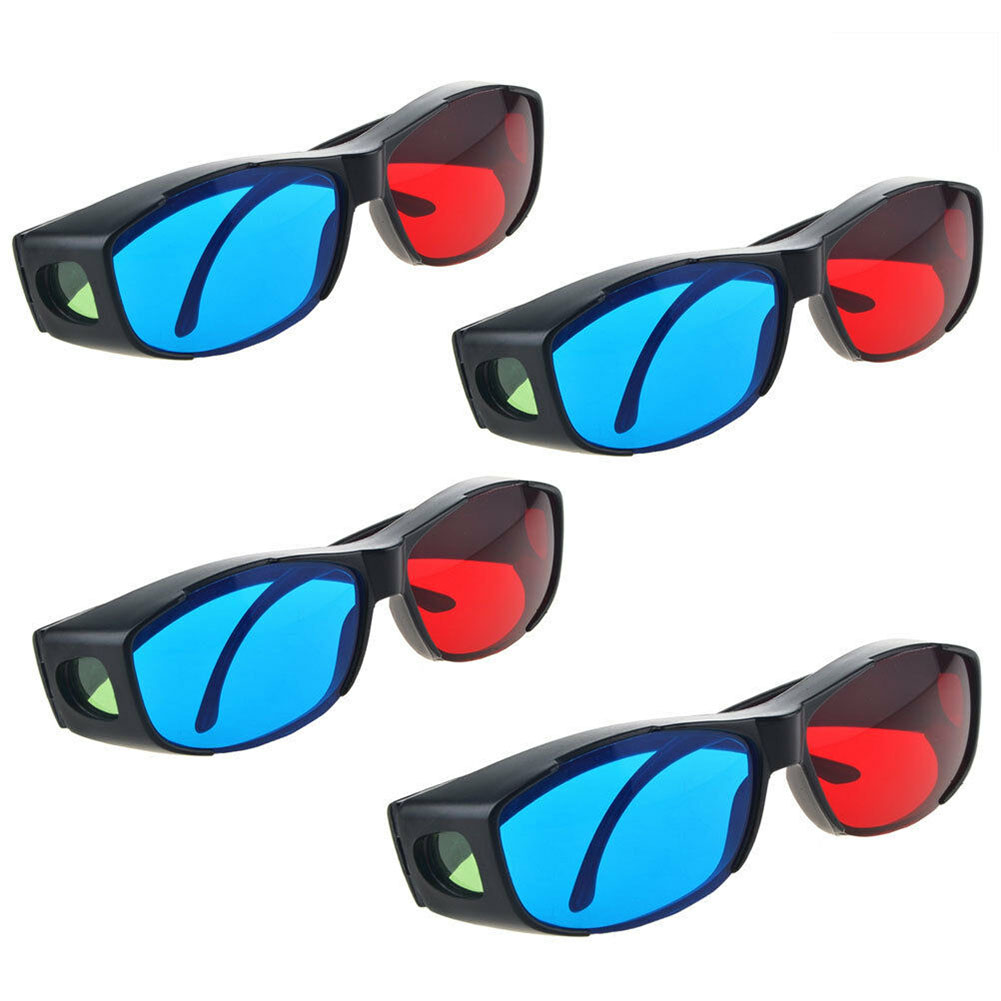 2PCS Black Frame 3D Glasses Virtual Movie DVD Vision Game Ultra Clear Dimensional Anaglyph TV Cinema Red Blue Easy Wear Fashion image