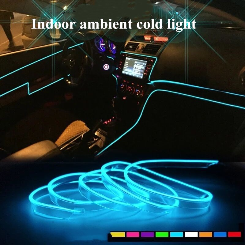 2M 12V EL Wire Ice Blue Cold light Neon Lamp Atmosphere Unique Decor For  Volvo