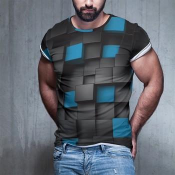 Czarny niebieski kwadrat śmieszne koszulki mężczyźni i kobiety moda luźne 3d Tshirt wokół szyi druku duży kod tanie i dobre opinie Krótki O-neck Topy Tees Regular short sleeve Suknem Poliester spandex Nowość Man and Woman and Child 3D digital printing
