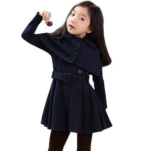 Image 1 - 가을 따뜻한 여자 자 켓 모직 두꺼운 여자 아우터 코트 솔리드 자 켓 아이들을위한 겨울 십 대 의상 6 8 12 년