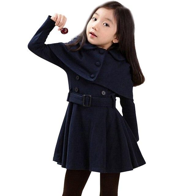 가을 따뜻한 여자 자 켓 모직 두꺼운 여자 아우터 코트 솔리드 자 켓 아이들을위한 겨울 십 대 의상 6 8 12 년